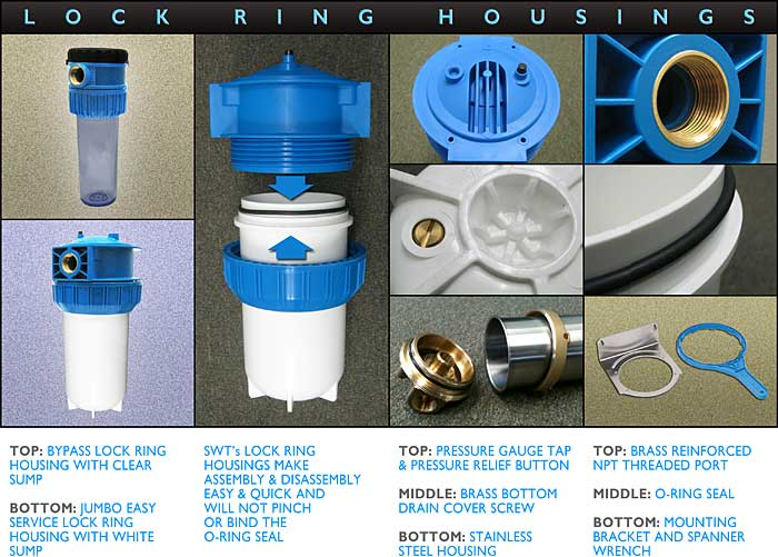 SWT's Lock Ring Housings in Plastic and Stainless Steel